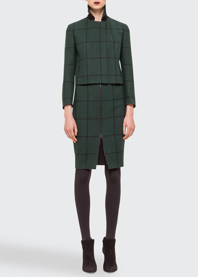 Checked Woven Short Jacket, Square-Neck Knit Tee & Zip-Front Checked Pencil Skirt