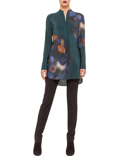 Floral-Print Button Tunic & Raised-Seam Jersey Pants