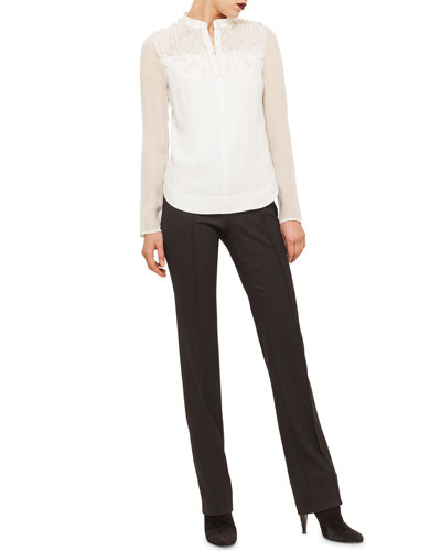Ruffle-Embellished Chiffon-Inset Blouse & Techno-Wool Straight-Leg Pants