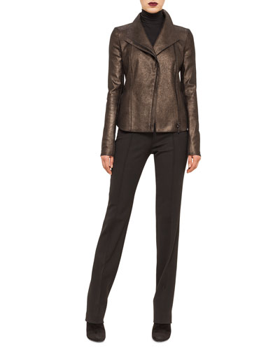Metallic Leather Moto Jacket, Modal Jersey Turtleneck Top & Techno-Wool Straight-Leg Pants