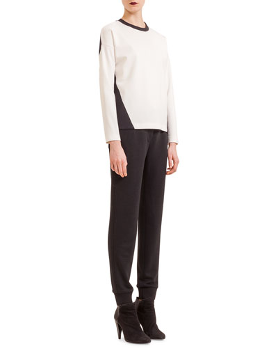 Colorblock Jersey Scoop-Neck Top & Jersey Tapered Ankle Pants