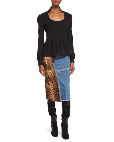 Double-Sable Round-Neck Peplum Top & Patchwork Denim w/ Fur Pencil Skirt