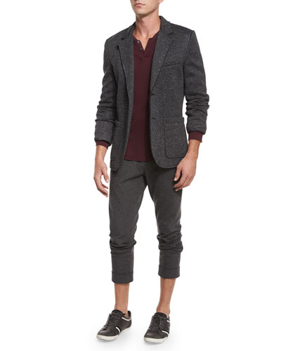 Bonded Knit Speckled Sport Coat, Long-Sleeve Pique Henley Shirt & Stretch-Knit Pants