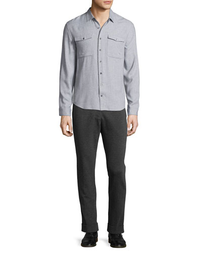 Utility-Pocket Long-Sleeve Shirt & Stretch-Knit Pants
