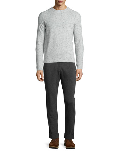 Donegal Cashmere Crewneck Sweater & Stretch-Knit Pants