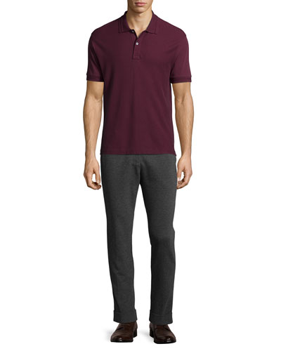 Short-Sleeve Pique Polo Shirt & Stretch-Knit Pants