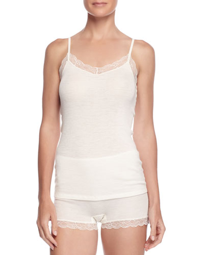 Lace-Trimmed Wool-Blend Camisole & Woolen Lace Boy-Leg Briefs