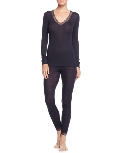 Woolen Silk Long-Sleeve Top & Woolen Silk Lace Leggings