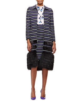 Striped Coat with Mink/Fox Fur Trim, Floral-Print Roll-Collar Blouse & Striped Textured Woven Pencil Skirt