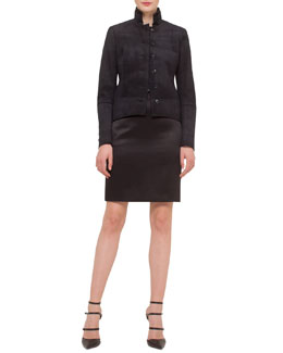 Suede Stand-Collar Button Jacket, Floral-Print Chiffon-Sleeve Blouse & Satin Pencil Skirt