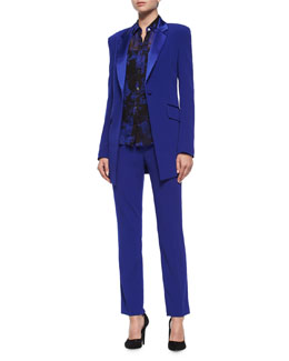 Long-Sleeve Smoking Jacket, Mariah Silk Blouse & Genesis Ankle Pants