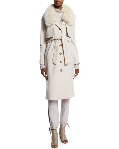 Long Coat with Fur Collar, Cashmere Turtleneck Sweater W/ Back Cutout & Slim Satin-Tie Tuxedo Pants