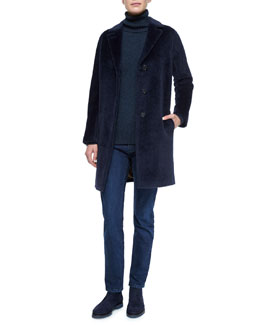 Irving Alpaca-Blend Coat, Spencer Cashmere-Knit Turtleneck Sweater & Washed Stretch Denim Jeans