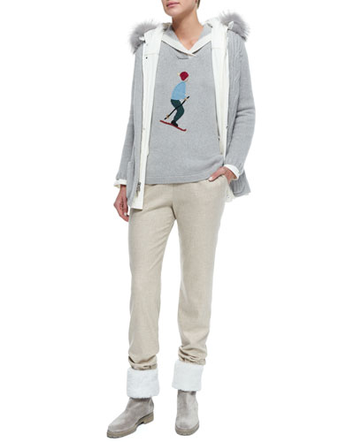 Mckinley Windmate Fur-Trimmed Reversible Jacket, Skier Embroidered Hooded Sweater & Cashmere-Blend Flannel Drawstring Pants