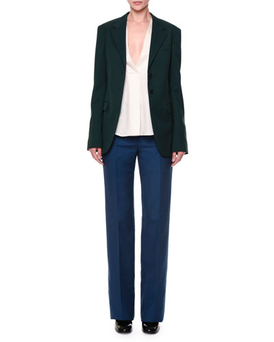 Vermeer Gabardine Two-Button Jacket, Via Crepe Front-Paneled Blouse & Valfredo Flat-Front Gabardine Pants