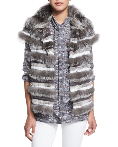 Fox Fur Striped Vest & Tie-Neck Marble-Print Blouse