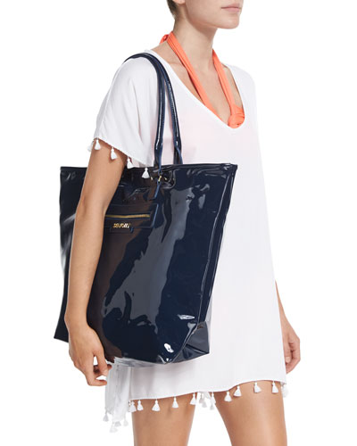 Bling Beach Tassel-Trim Coverup & Summershine Faux-Patent Leather Tote Bag
