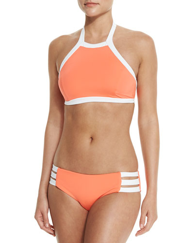 Block Party High-Neck Swim Top & Strappy-Side Swim Bottom