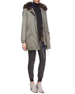 Parka Jacket with Fur-Trim Hood, Long-Sleeve Skinny-Rib Sweater & Leather Belted Jogger Pants