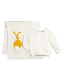 Bunny-Intarsia Thumper Pullover Sweater & Snowball Blanket