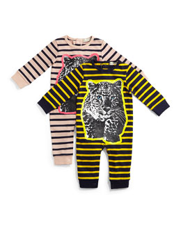 Dewberry Striped Leopard-Graphic Coverall, Size 6-24 Months