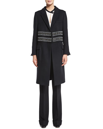 Paillette-Embellished Cashmere Coat, Bicolor Silk Georgette Top & High-Waist Stretch-Wool Trousers