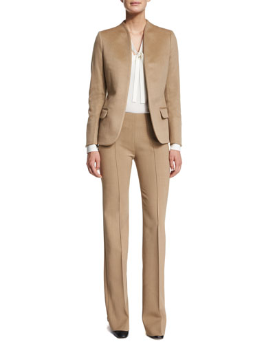 Cashmere Open-Front Blazer, Silk Marocain Tie-Neck Blouse & Stretch Double-Wool Seamed Pants