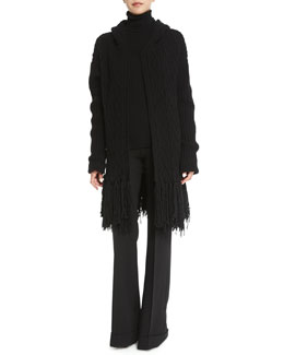 Fringed Cable-Knit Cashmere-Blend Coat, Open-Knit Cashmere Turtleneck Sweater & High-Waist Stretch-Wool Trousers