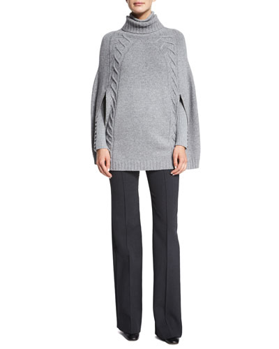 Wool/Cashmere Knit Sweater Poncho, Open-Knit Cashmere Turtleneck Sweater & Stretch-Wool Flared Trousers