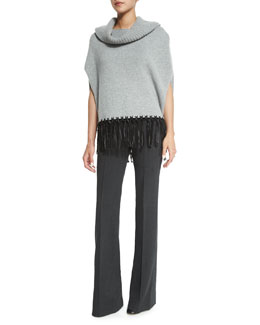 Cashmere Cowl-Neck Leather-Fringe Poncho & Stretch-Wool Trousers