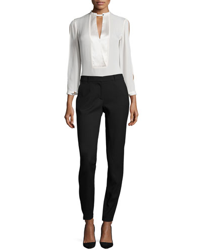 Mandarin Collar Slit-Sleeve Silk Blouse & Slim-Leg Pants W/ Patch Pockets