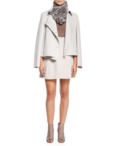 Short Double-Faced Coat, Jewel-Neck Racerback Cami, Rabbit Fur Scarf & Tulip-Shaped Crepe Skirt