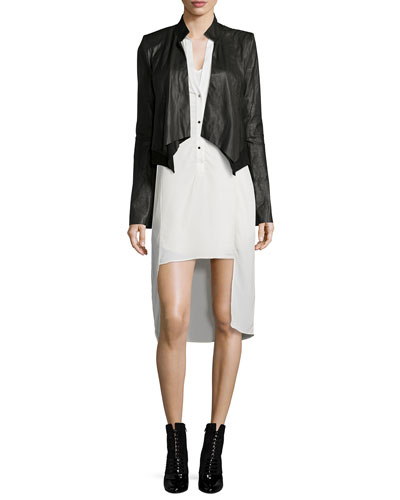 Long-Sleeve Leather Cropped Jacket & Long-Sleeve Tuxedo Shirtdress