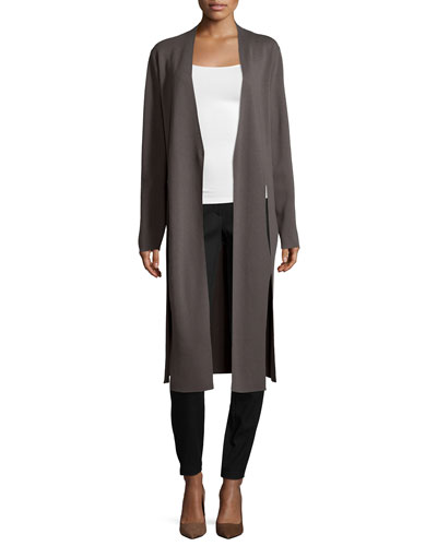 Duster Cardigan W/ Tie Front & Slim-Leg Pants W/ Patch Pockets
