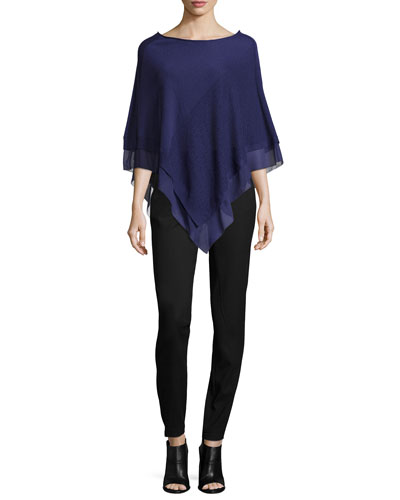 Off-the-Shoulder Poncho W/ Georgette Trim & Slim-Leg Pants W/ Patch Pockets
