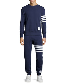 Terry Arm-Striped Crewneck Sweatshirt & Terry Striped-Detail Drawstring Sweatpants