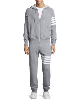 Terry Arm-Striped Zip Hoodie Jacket & Terry Striped-Detail Drawstring Sweatpants