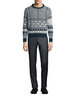 Fair Isle Knit Crewneck Sweater & Low-Rise Twill Pants
