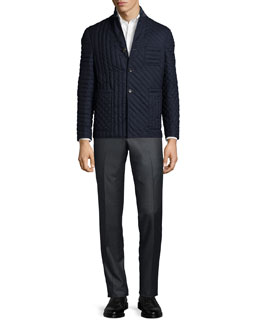 Mixed Quilted Flannel Jacket, Oxford Dress Shirt & Low-Rise Twill Pants