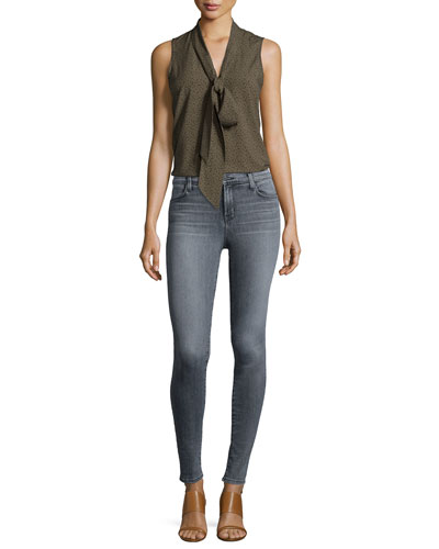 Giovanna Sleeveless Neck-Tie Blouse & Maria High-Waist Skinny Jeans