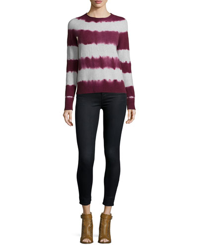Mariposa Tie-Dye Striped Sweater & Alana Cropped Coated Jeans