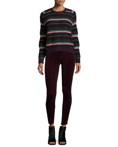 Ramona Striped Long-Sleeve Sweater & Mid-Rise Super Skinny Pants