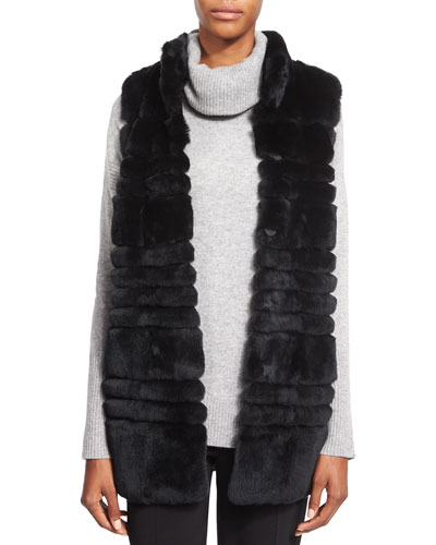 Colby Long Fur Vest & Ahiga Slim 2 Cashmere Sweater