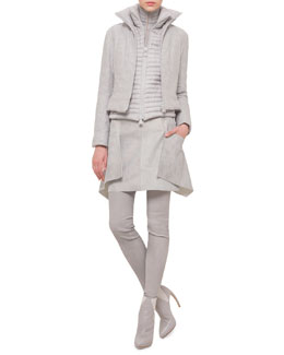 Quilted Cashmere-Blend Short Jacket, Stripe-Quilted Combo Jacket & Napa Leather Apron Skirt