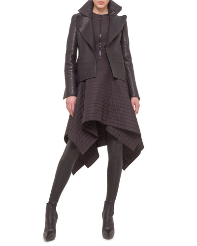 Stamped Napa Leather Tailcoat, Matelasse Half-Zip Asymmetric Dress & Leather Over-The-Knee Stockings