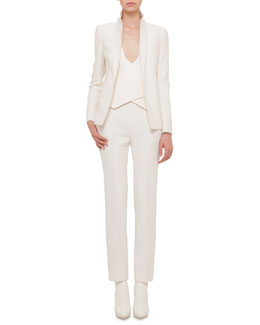 Double-Faced Blazer-Style Jacket, Asymmetric-Front Double-Faced Gilet & Carlota Double-Faced Straight-Leg Pants