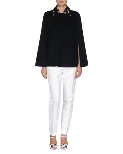 Double-Faced Embroidered-Collar Cape, Bow-Trimmed Side-Slit Crop Top & Slim-Fit Tapered Ankle Pants