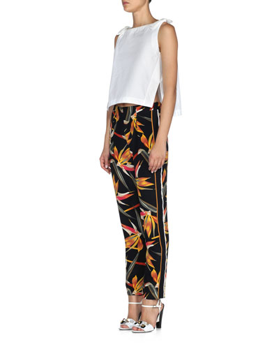 Bow-Trimmed Side-Slit Crop Top & Bird of Paradise-Print Cady Pants