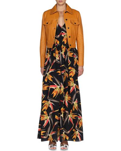 Napa Jean-Style Leather Jacket & Bird of Paradise Crisscross-Back Ruffled Dress