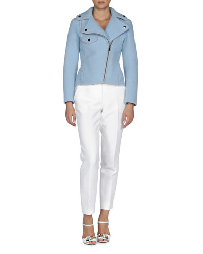 Topstitched Shearling Fur Moto Jacket & Slim-Fit Tapered Ankle Pants
